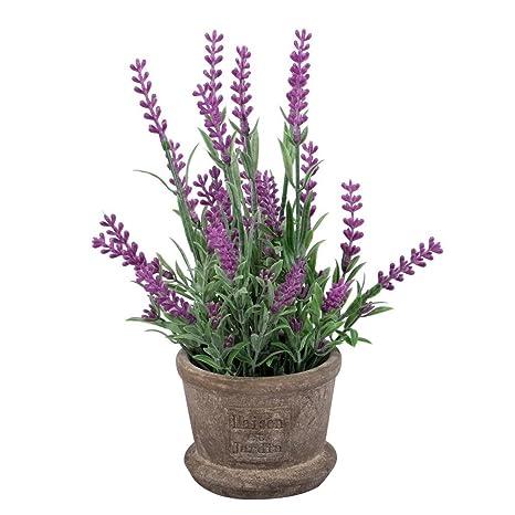 Winomo Fleurs Artificielle Lavande Plantes Avec Pot Pour Jardin