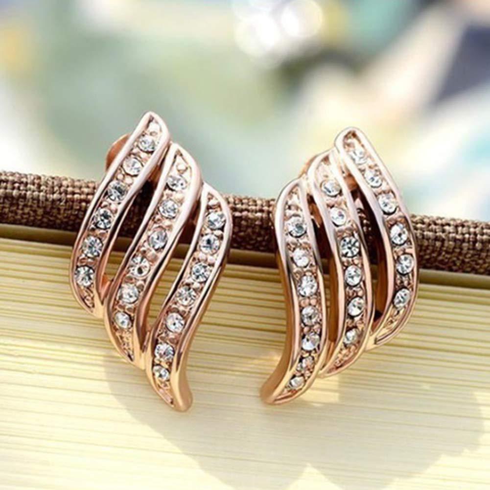 Women Simple Fashion Hollow Alloy Rhinestone Ear Stud Earrings Jewelry Gift Silver