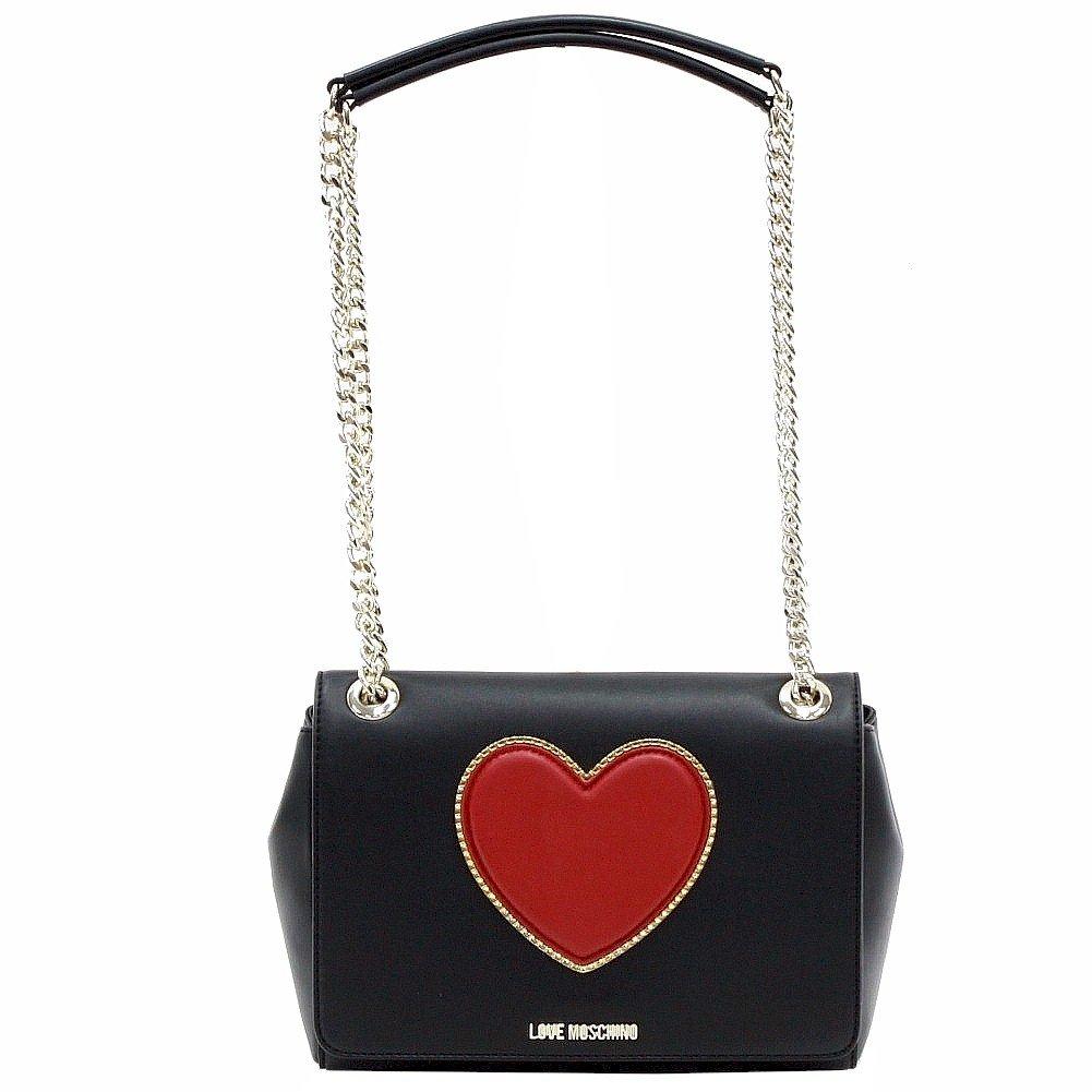 LOVE Moschino Women's Heart Logo Shoulder Bag Black Cross Body