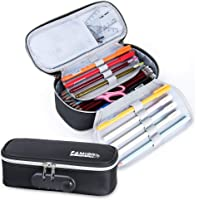 Canvas Pencil Case Waterproof Pencil Pouch Password Lock Pencil Bag 2 Zipper Pencil Case Multi-Slot Large Capacity…