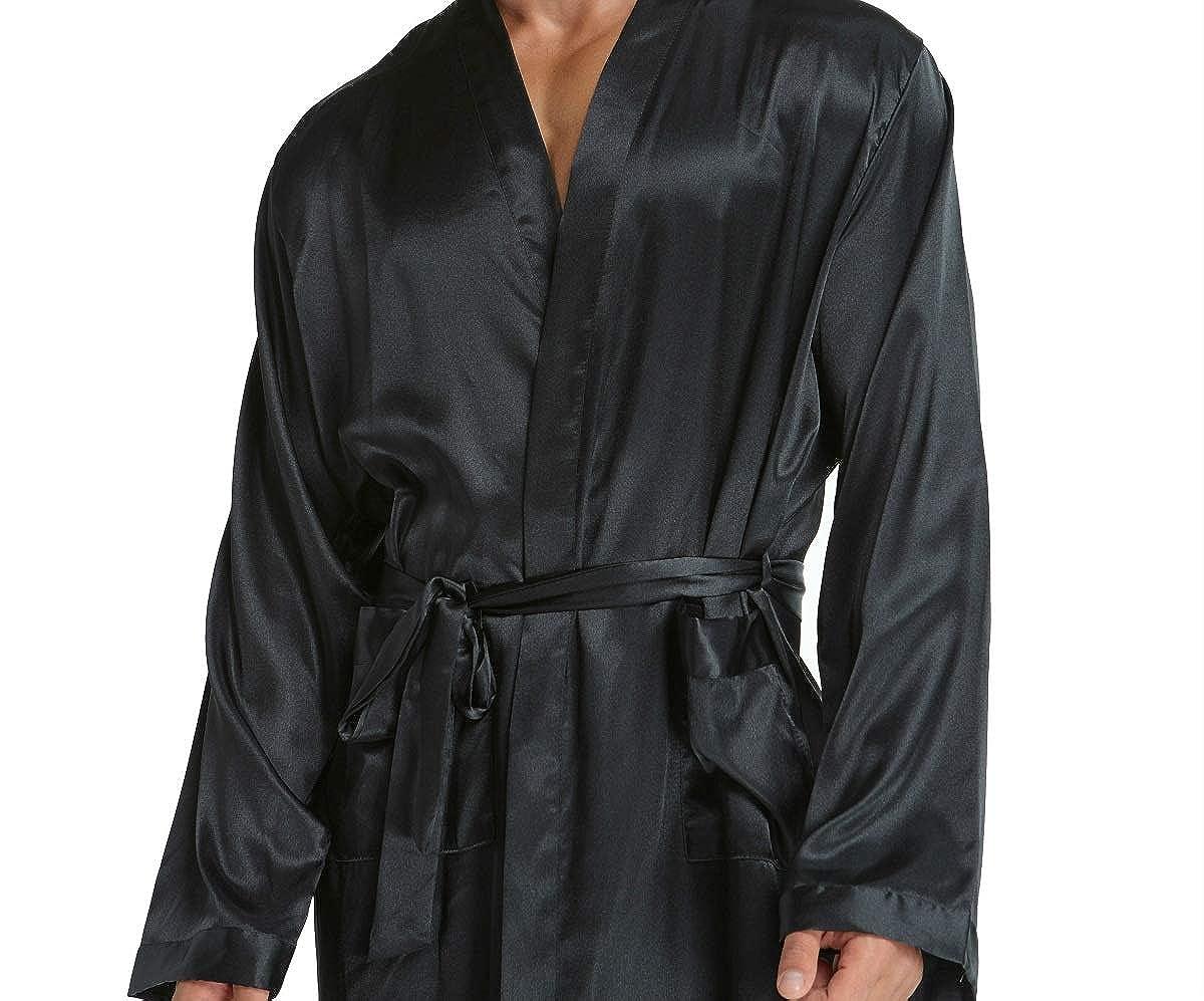 Firecos Satin Robes for Men Silky Lightweight Kimono Robe Sleepwear for Men