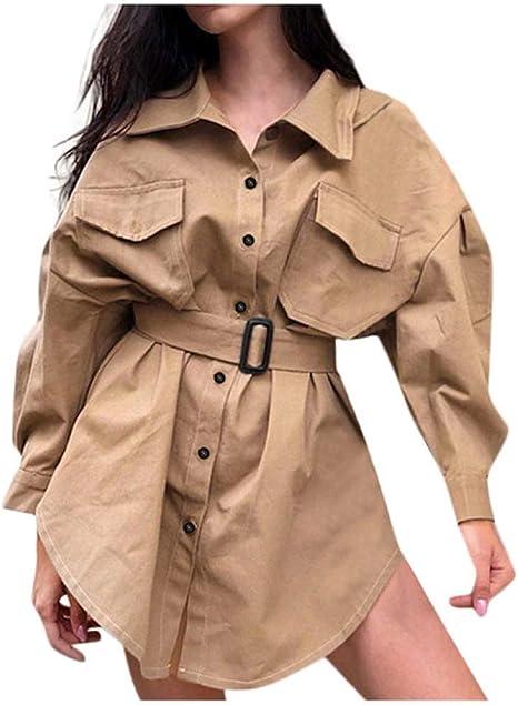 EIJFKNC Chaquetas Otoño Mujer Cinturón Cazadora Chaqueta Larga Trench Abrigo Casual Sólido Cuello Vuelto Camisa Chaqueta Suelta Abrigo Femenino Outwear: Amazon.es: Deportes y aire libre