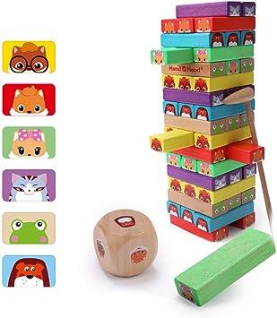 Rclhh Torre de Bloques Infantil de Madera Colores y Animales – Juego de Mesa Educativo para Niños y Niñas de 3 a 8 años(54 Piezas): Amazon.es: Deportes y aire libre