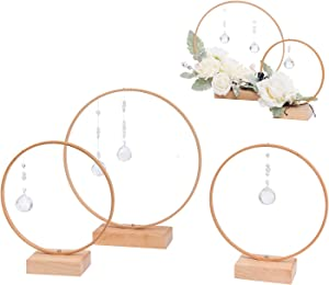 Ling's moment Handcrafted Crystal Hoop Wreath Centerpieces for Sweetheart Table, Head Table, Ceremony Reception Decorations (Set of 3)