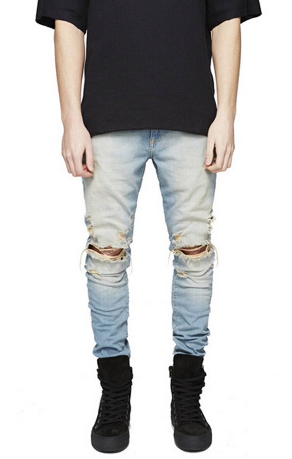 Sarriben Mens Slim Fit Jean Knee Ripped Skinny Denim Casual Stylish Jean Pant