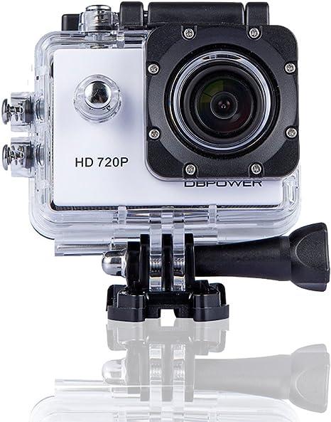 DBPOWER® 12MP 720P Cámara de acción a prueba de agua, mejoró baterías y kit de accesorios gratuito (Blanco): Amazon.es: Electrónica