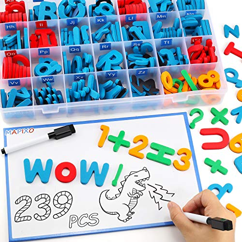 239 Pcs Magnetic Letter Number with Magnet Board, 2 Erasable Magnetic Pen and Storage Box, Foam ABC Alphabet Gift for Refrigerator Fridge, Classroom Toy for Toddler Kid Child Spelling & Learning Game