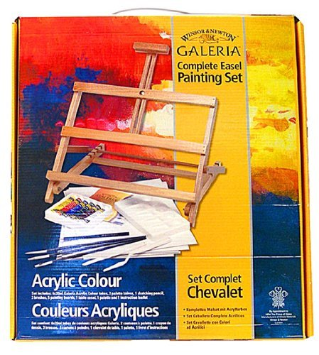 (Winsor and Newton Complete Acrylic Painting Set with Adjustable Easel)