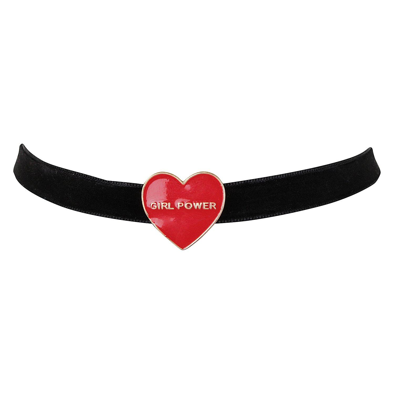 ASHI'S Collection Black Velvet Choker Girl Power Heart pendent Women & Girls ASHI'S Collection B07F7Z6JKM_US