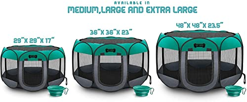 Ruff n Ruffus Portable Foldable Pet Playpen Carrying Case Collapsible Travel Bowl Indoor Outdoor use Water Resistant Removable Shade Cover Dogs Cats Rabbit Available in 3 Sizes