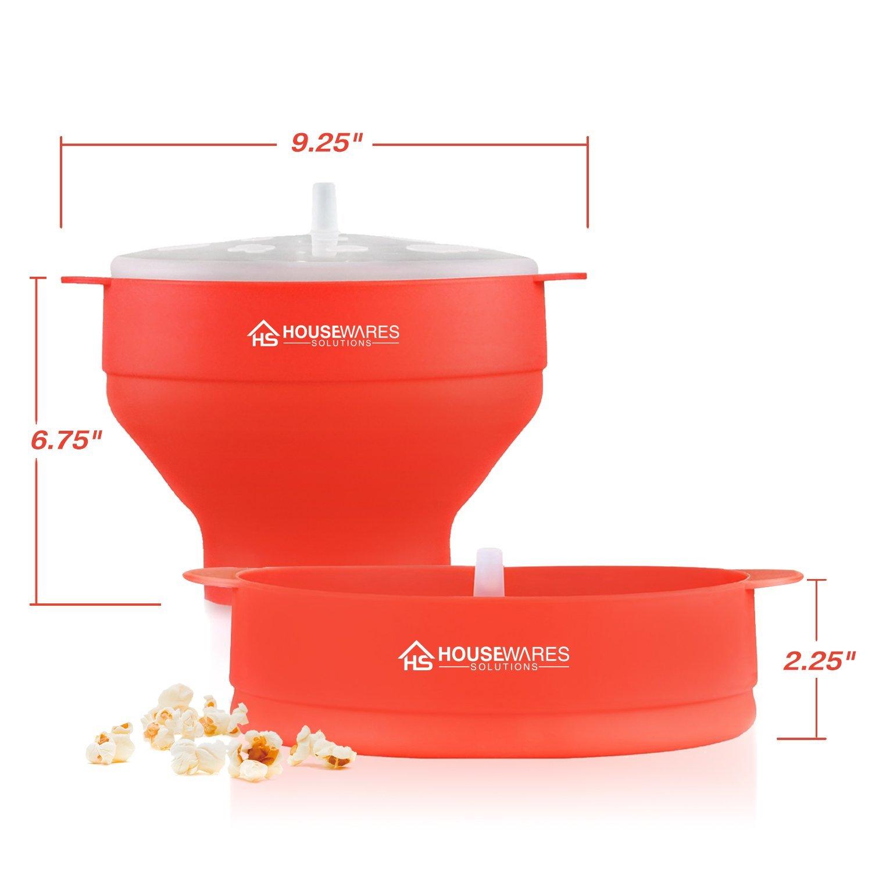Popcornschüssel aus Silikon, zusammenklappbar, für die Mikrowelle mit Deckel und Griffen