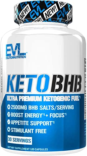 Evlution Nutrition Keto BHB, Premium Triple Strength Ketogenic Fuel, 2500MG BHBs, Appetite Support, Stimulant Free, Gluten-Free, 30 Servings