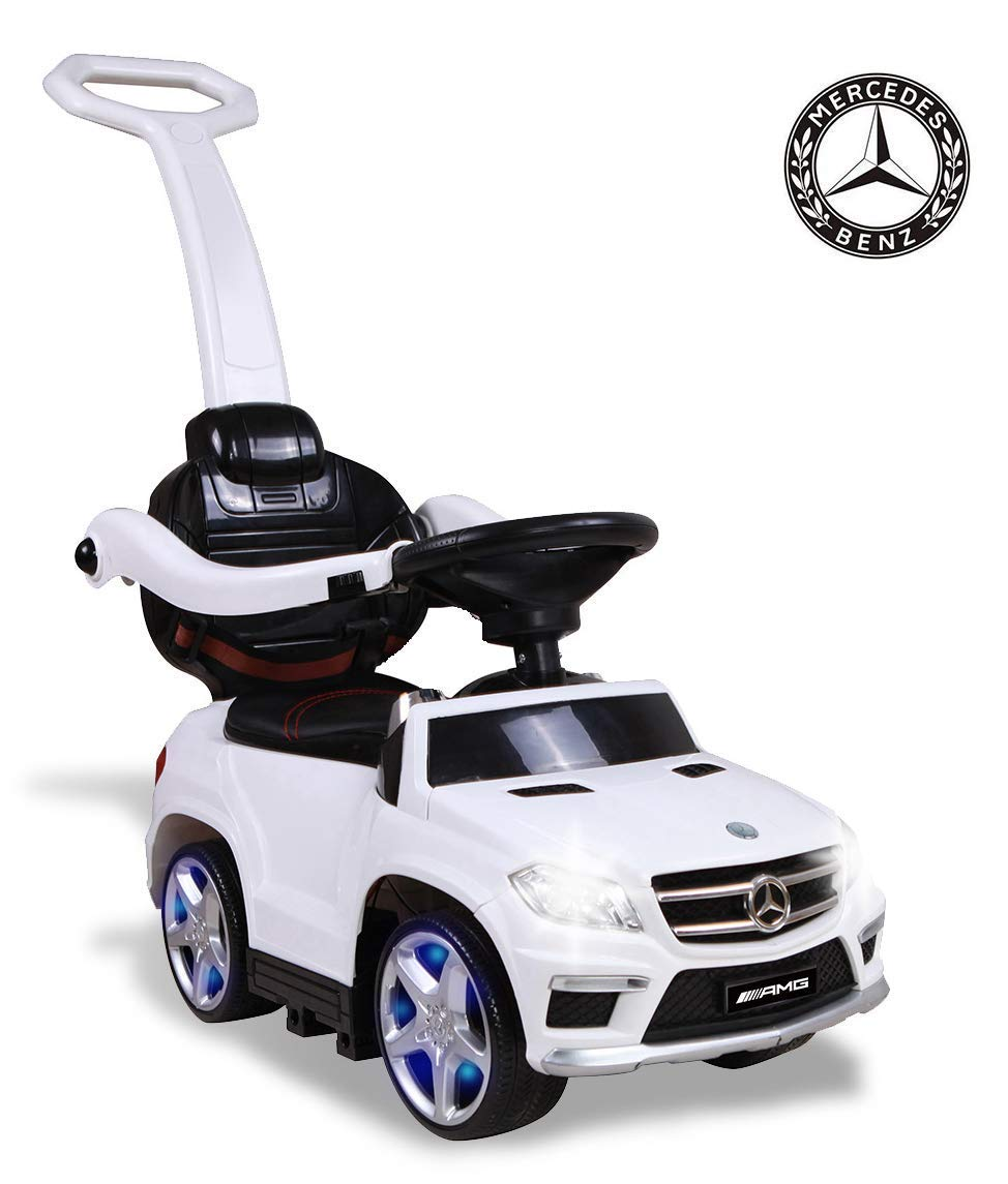 Ride On Car Mercedes Benz GL63 Push Car with PU Seat, Footrest, MP3 Player (Pink)