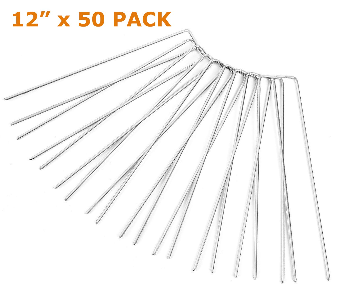 Ohuhu Garden Stake, 50-Pack 12-inch Galvanized Iron Ground Stakes/Tent Pegs/Garden Pegs/Lawn Staples Stakes Pins for Securing Garden Weed, Landscape Fabric, Ground Sheets and Fence Anchors