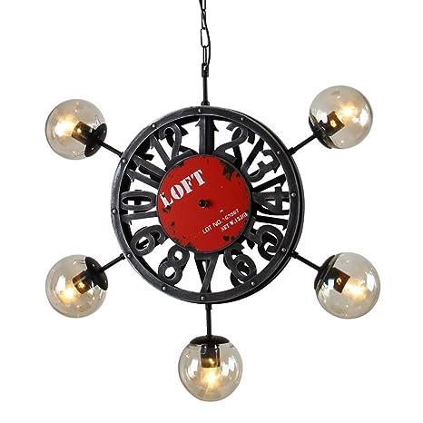 El estilo retro iluminación lámpara colgante reloj industrial judías mágicas Salón Restaurante Restaurante Tienda de ropa