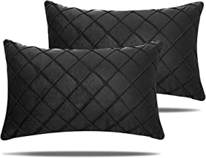 NEERYO Pack of 2 Velvet Plaid Cushion Covers Soft Particles Square Pillowcase Decorative Solid Color Throw Pillow Covers for Couch Bedroom Farmhouse Decor 12 X 20 Inch 30 X 50 cm Black