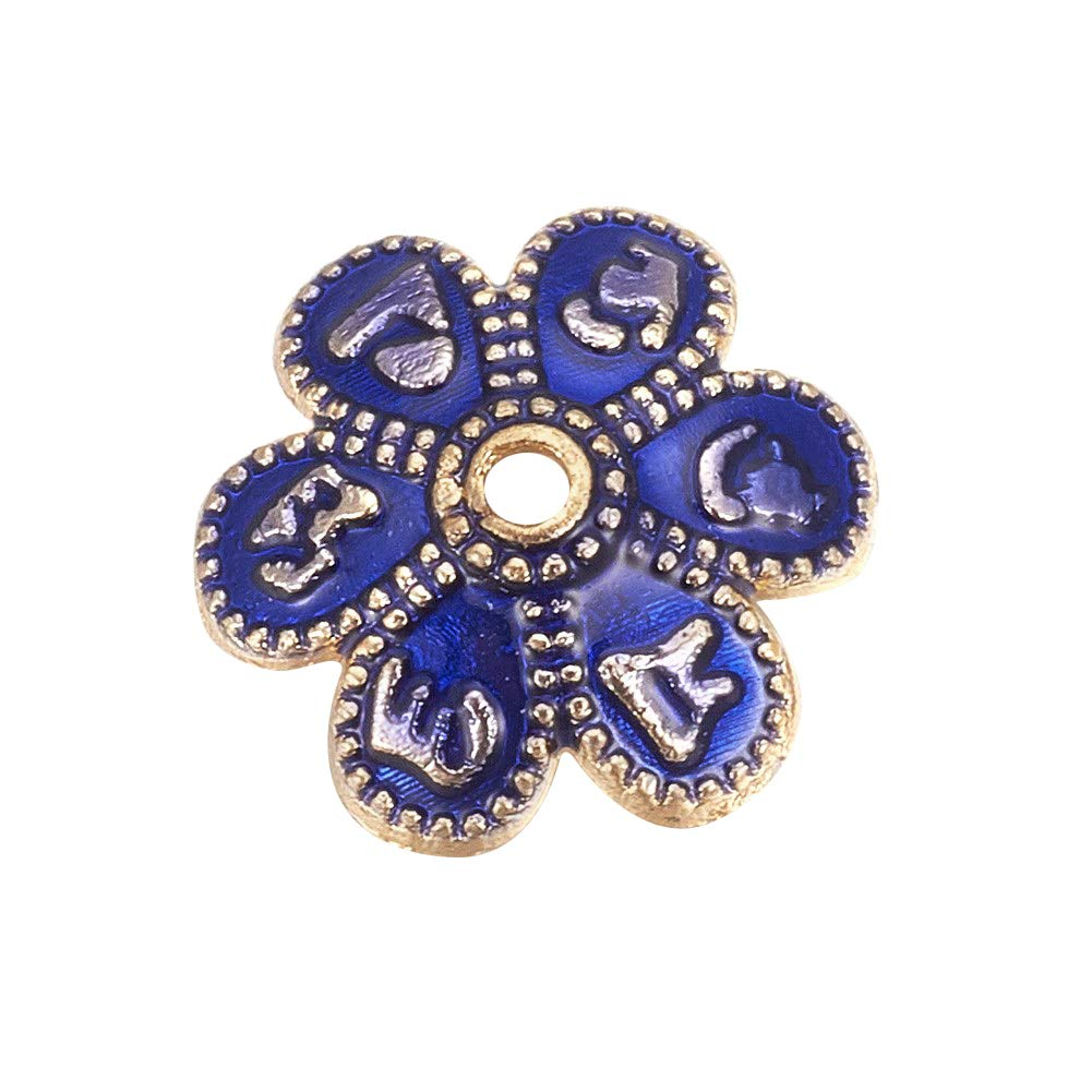 PH PandaHall 200pcs Blue 6-Petal Flower Alloy Enamel Beads Caps 9.5mm Golden Flower Beads for Jewelry Making, 3mm Thick, Hole: 1mm by PH PandaHall
