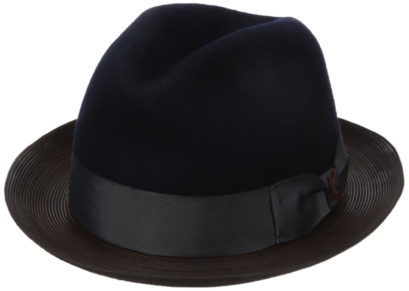 Carlos Santana Men's Wool Pinch Hat With Leather, Navy, Medium