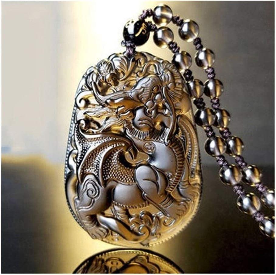 LUOSI Collar de Cristal Negro y Hielo Colgante de obsidiana Amuleto Flying Kylin for Hombres Mujeres Colgante (Gem Color : Ice)