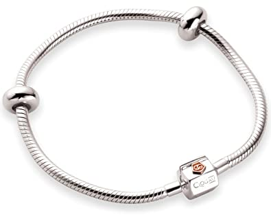 Clogau Beads Womens Silver 9ct Rose Gold Cariad Heart Milestones Bracelet - 19cm