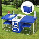 Giantex Rolling Cooler Picnic Table Multi Function For Picnic Fishing Portable Storage Food Beverage Included Foldable Table W/Two Chairs Camping Trip Cooler Children Size (Blue)