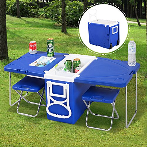unbrand Multi Function Rolling Cooler Picnic Camping Outdoor w/Table & 2 Chairs Blue ()