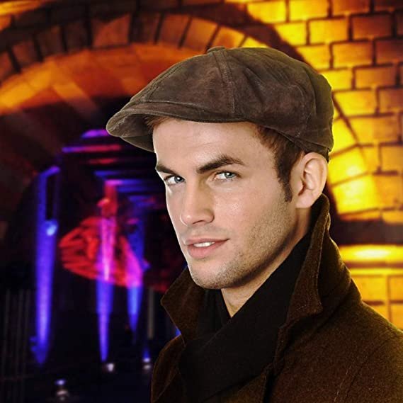 Stetson Leather Hatteras Flatcap Cap Hat Flat Cap Pig Skin Grey 6847102 New