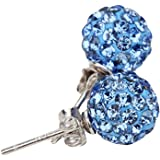Hosaire 1 Pair 8mm Fashion Elegant Women Girls Jewelry Diamond Ball Earrings Stud Clip For Holiday New Years Gifts
