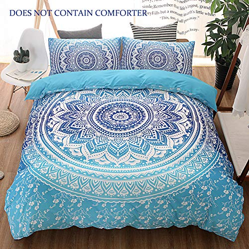 QYsong Bohemian Mandala Duvet Cover Set Twin Size (59x83 Inch), 2 Pieces Include 1 Blue Boho Chic Microfiber Duvet Cover Zipper Closure and 1 Pillowcase, Bedding Set for Boys, Girls, Kids and Teens