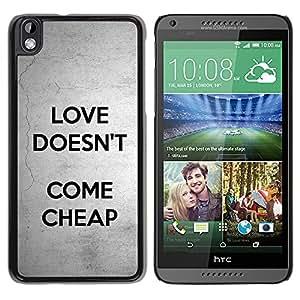 iBinBang / Funda Carcasa Cover Skin Case - El amor no viene Texto barato Gris Negro - HTC DESIRE 816