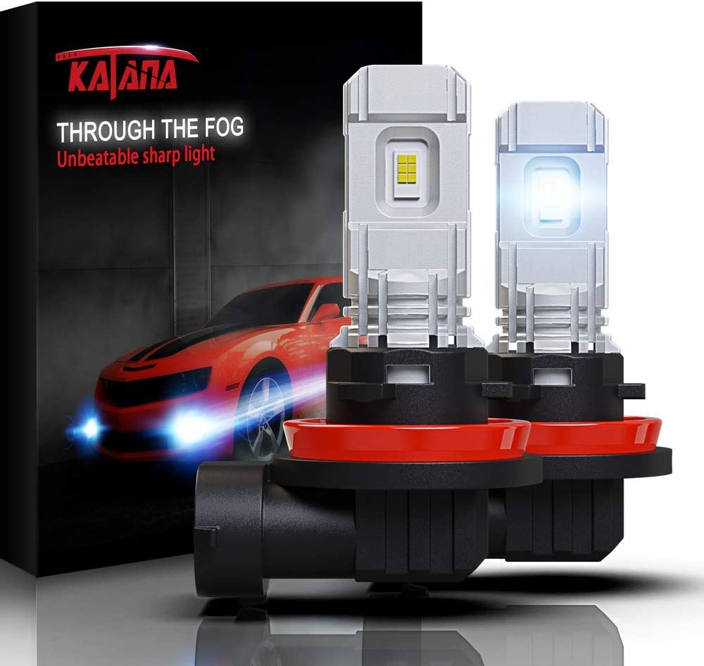 KATANA H11 LED Fog Light Bulbs,5530 Chips 2800 Lumens Extremely Bright 6500K Xenon White