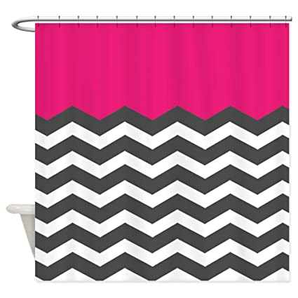 Image Unavailable Not Available For Color CafePress Hot Pink Chevron White Shower Curtain