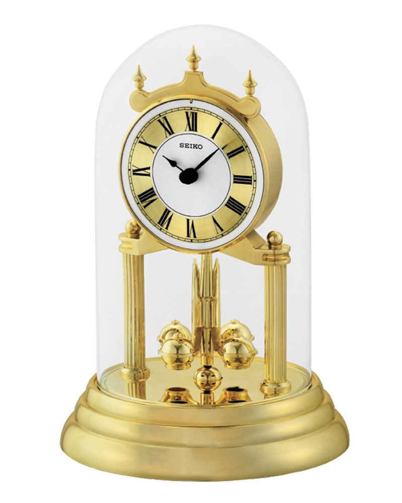 Seiko Anniversary Clock with Rotating Pendulum, Gold, 28 x 18 x 19 cm QHN006G