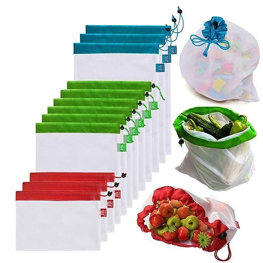 Awinker 12 Piezas Bolsas Compra Reutilizables Bolsa de Malla para Almacenamiento Fruta Verduras Juguetes Lavable y Transpirable 3 Diversos Tamaños ...