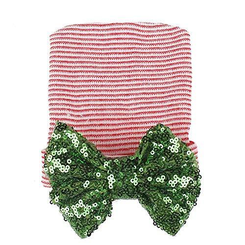 Fineser Baby Hat, Clearance Sale Cute Baby Girls Boys Stripe Bowknot Toddlers Knitted Cotton Nursery Beanie Sleep Cap Headwear Hat (C)