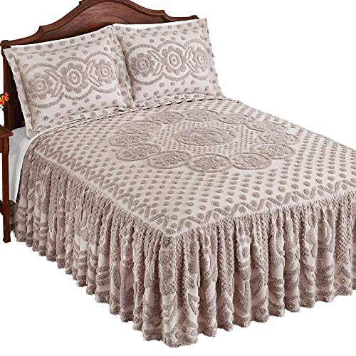 Collections Etc Briar Polka Dot and Flower Chenille Bedspread with Gathered Dropped Bed Skirt to Instantly Add Texture and Elegance, Silver, Queen (With Bedspread Skirt)