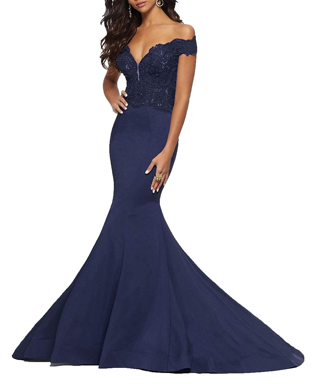 bluee 2 Wanshaqin Women's Fishtail Deep VNeck Floral Lace Wedding Dress Aline Off Shoulder Evening Dress for Bride