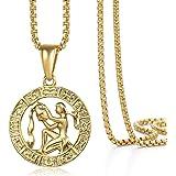 Hermah Gold Plated Zodiac Sign Pendant Necklace for Women Men Leo AriesConstellation Horoscope Pendant Stainless Steel…