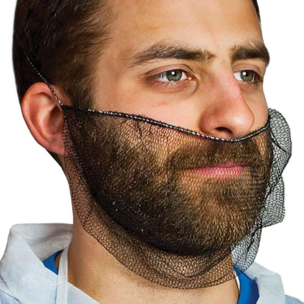 ABC 100 Pack of Disposable Soft Nylon Beard Covers 18''. Black beard guards. Premium Quality beard net protectors. Honeycomb beard nets. Facial hair covering. Breathable & Lightweight. Wholesale. by ABC Pack & Supply