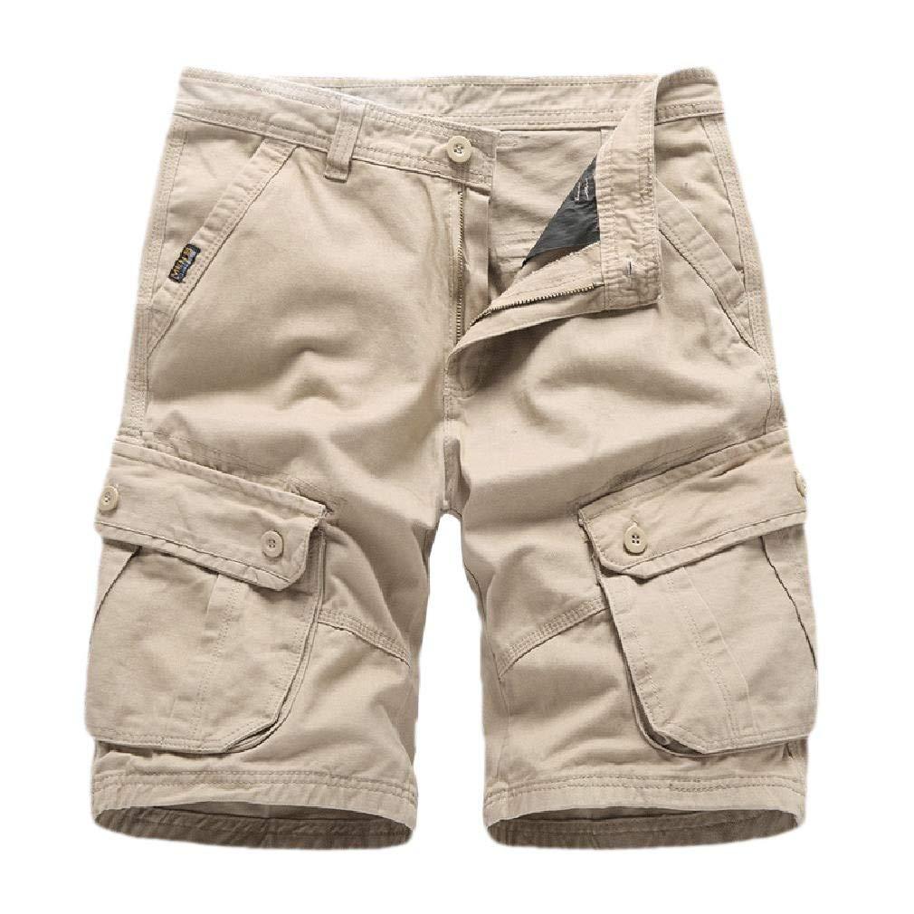 HEFASDM Men Short Pants Multi-Pockets Rugged Wear Loose Fit Solid Cargo Pants