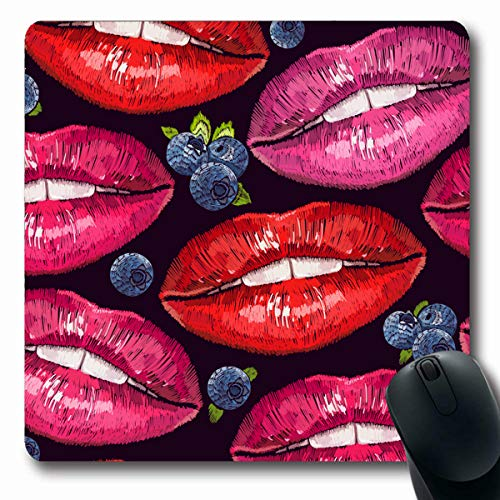 (LifeCO Computer Mousepads Sexy Pink Abstract Lips Bilberry Cosmetics Makeup Sweet Kiss Valentine Wet Make Up Pattern Red Day Oblong Shape 7.9 x 9.5 Inches Oblong Gaming Mouse Pad Non-Slip Rubber)