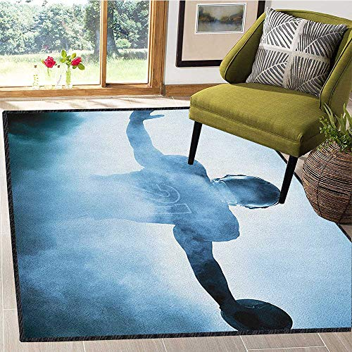 Sport Anti-Skid Area Rug,Heroic Shaped Rugby Player Silhouette Shadow Standing in Fog Playground Global Sports Photo Provides Protection and Cushion for Floors Blue 59
