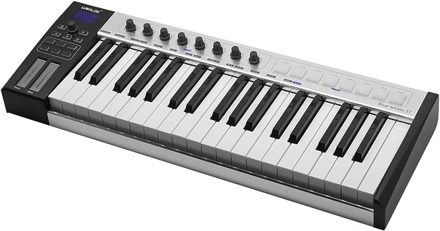 Teclado controlador MIDI portátil con 37 teclas semi pesadas, 8 ...