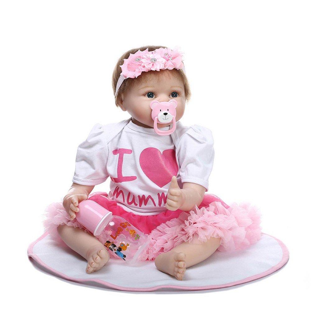NPKDOLL 22 Zoll 55 cm Baby Reborn Doll Wiedergeboren Puppe Weiche Simulation Silikon Junge Mädchen Geschenk Spielzeug Puppe für Kinder Geburtstag und Weihnachten a46