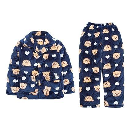 4a52927f0 Pijamas dos piezas Pijama Niños Invierno Engrosamiento Coral Polar Acolchado  niño Dibujos Animados más Terciopelo cálido
