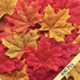 Bassion 400 Pcs Assorted Mixed Fall Colored Artificial Maple Leaves for Weddings, Events and Decorating