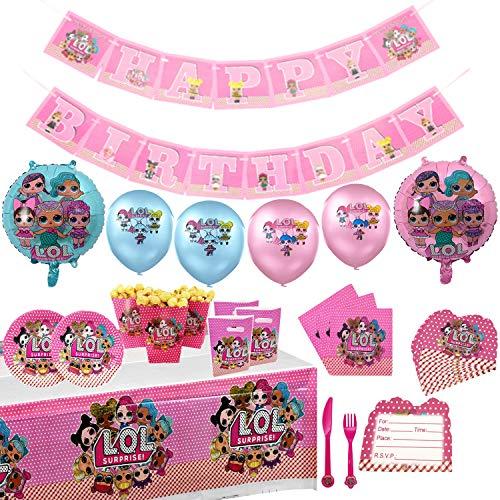 Geenber LOL Surprise Dolls Party Supplies Set 74Pcs Kit de vajilla de Fiesta de cumpleaños con Globos Decoraciones de…