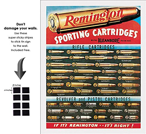 Shop72 - Remington Cartridges Tin Sign Retro Vintage Distrssed - with Sticky Stripes No Damage to -