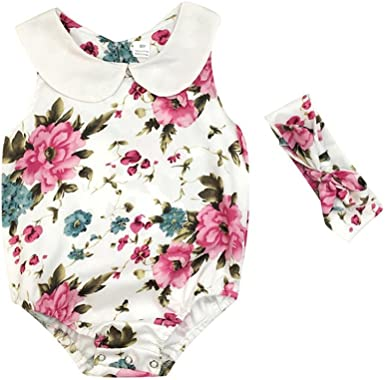 Newborn Infant Baby Girls Floral Romper Bodysuit Headband Outfits Set Sunsuit