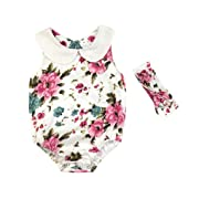 Leegor 2PC Newborn Infant Baby Girl Floral Sleeveless Romper Jumpsuit Sunsuit+Headband Set Outfits